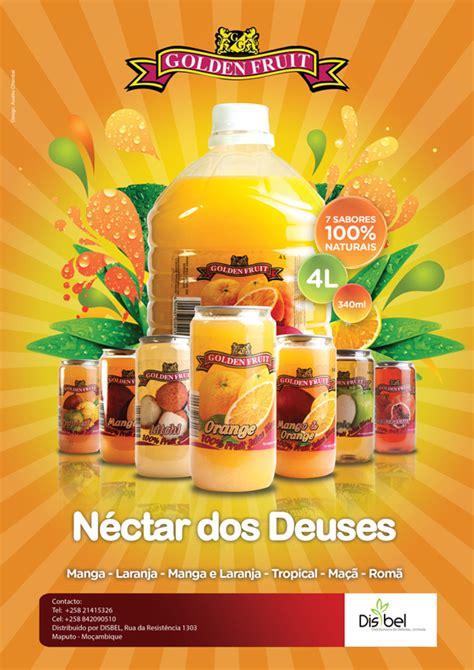poster design for drink golden fruit juice ad posters by grande lelo via behance