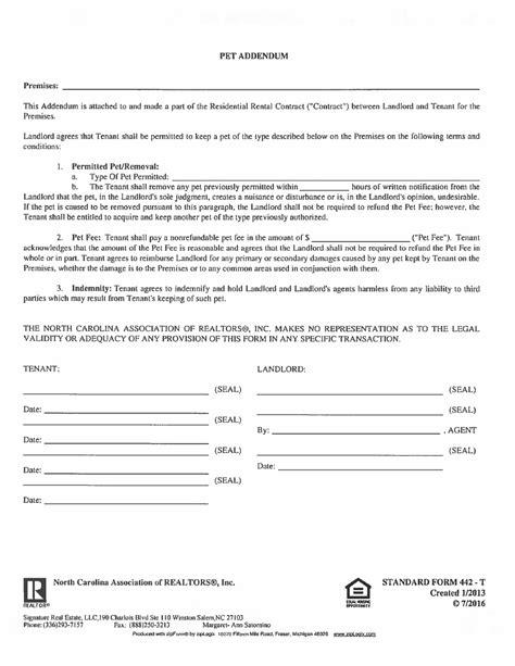 442 T Pet Addendum Printable Pdf Download Pet Agreement Template