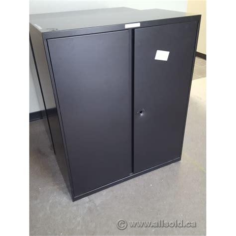 Metal 2 Door Storage Cabinet Teknion Black 36x18 Inch 2 Door Metal Storage Cabinet Grade B Allsold Ca Buy Sell Used
