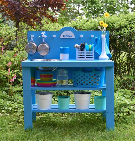 diy outdoor play kitchen from a shelf