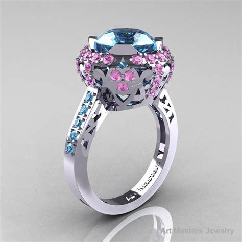 light pink sapphire engagement rings modern edwardian 10k white gold aquamarine light pink