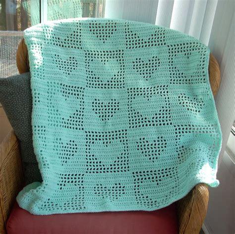 heart pattern crochet blanket free shipping filet crochet tender hearts baby or lap afghan