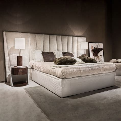 exclusive modern italian leather and velvet bed