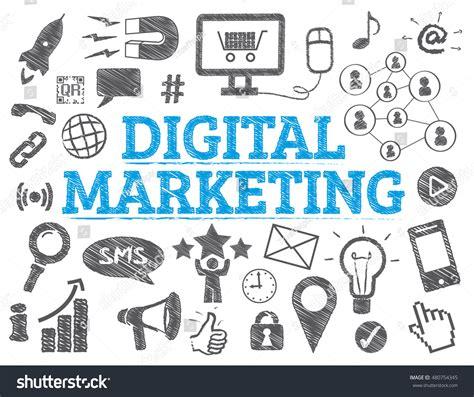 doodle digital digital marketing doodle icons chart stock vector