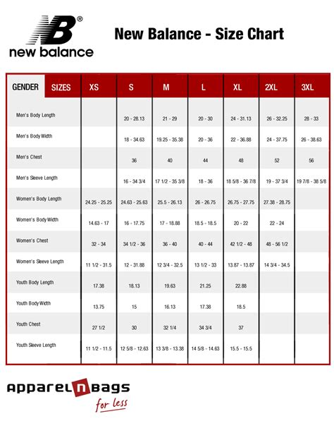 shoe size chart new balance new balance clothing size chart and online fit guide