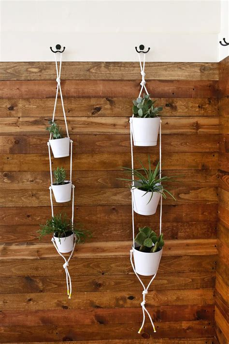 Diy Rope Hanging Planter - three tier indoor rope planter a beautiful mess