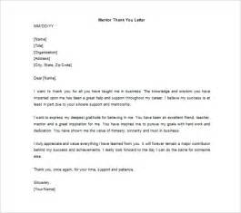 thank you letter to mentor 9 free sle exle