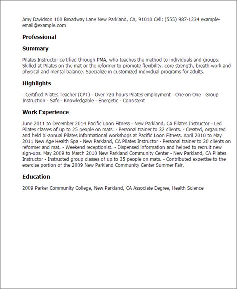 Reference Letter For Pilates Instructor Professional Pilates Instructor Templates To Showcase Your Talent Myperfectresume