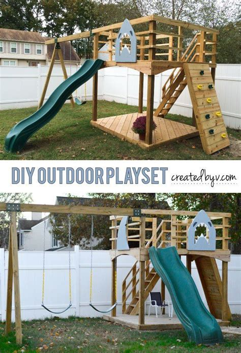 diy backyard slide diy outdoor playset www createdbyv com outdoors