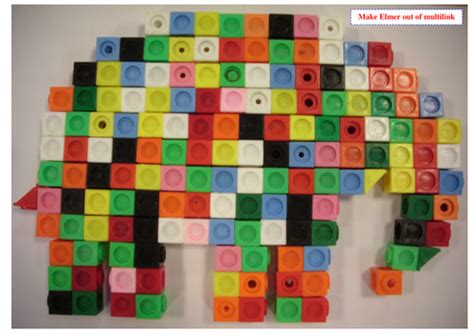 pattern activities eyfs make an elmer the elephant model with multi link by
