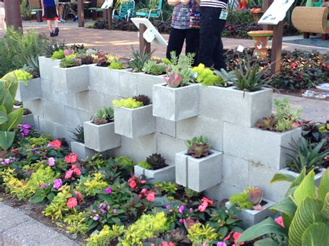 Concrete Blocks For Garden Walls Concrete Block Planter Wall Gardening