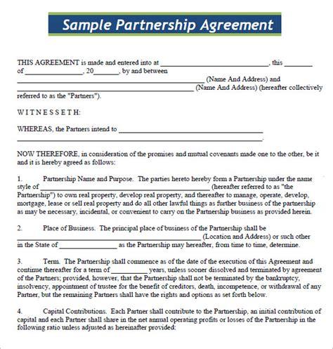 basic partnership agreement template standard partnership