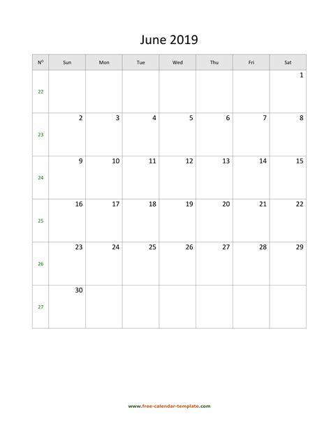 june calendar  simple design  large box
