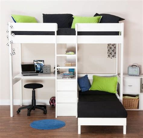 High Sleeper With Sofa And Desk Uno 5 White Highsleeper With Desk Pullout Chairbed With Cushion Set