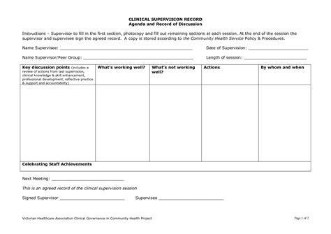 supervision agreement template clinical supervision template clinical supervision form