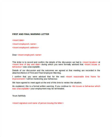 warning letter to employee template employee warning letter template 6 free word pdf
