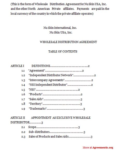 terms and conditions template usa wholesale distribution agreement sle wholesale