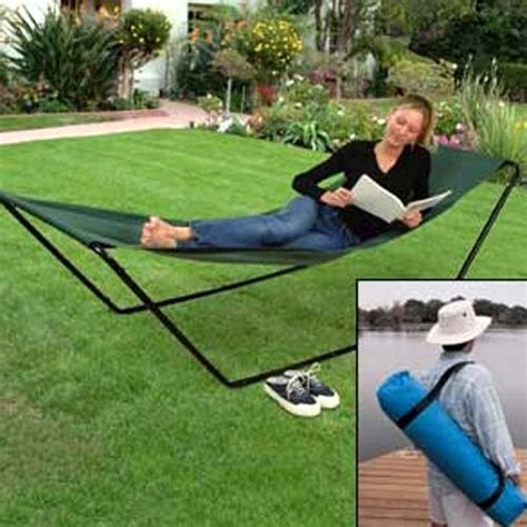 Fold Away Hammock portable foldaway hammock with stand and carry bag new