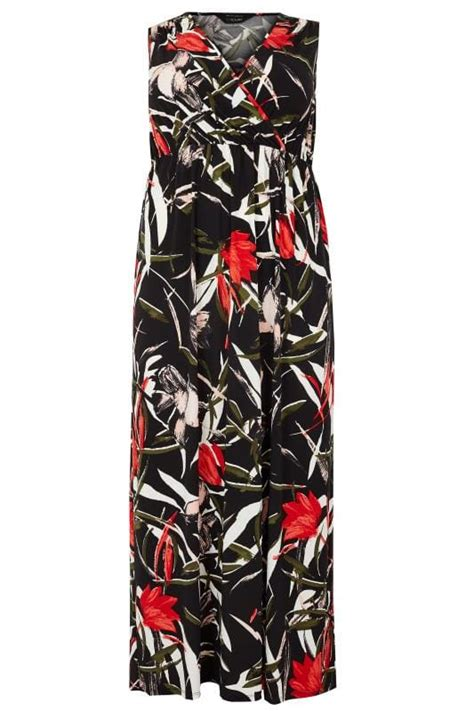 And Color Icon Blush Chagne Blushon Blush On black multi floral print wrap maxi dress with