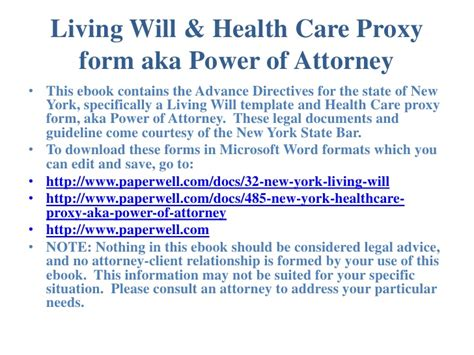 New York Advance Directives Living Will Health Care Proxy Form Aka New York State Living Will Template