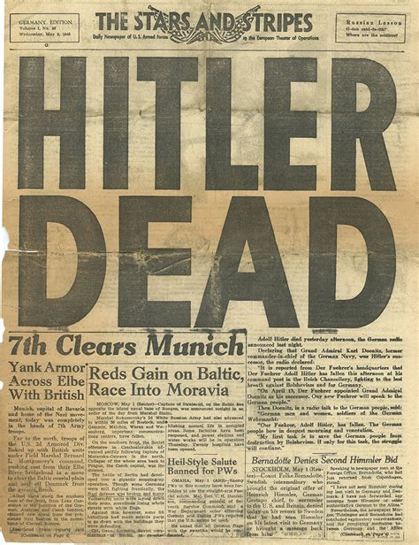 End Of 1 front pages from the front lines of the end of world war