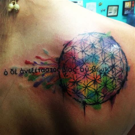 tattoo the flower of life flower of life watercolor tattoo with the quote quot the