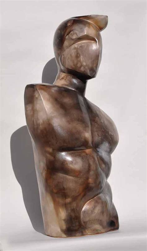 modern man ceramic sculpture  trevor craggs sable ox