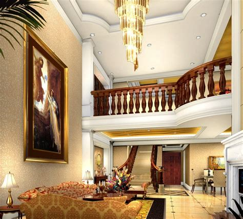 neoclassical villa interior stairwell 3d house free 3d brick wall bending stairs in villa living room 3d house