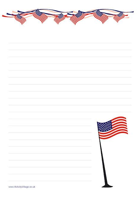 free printable patriotic lined paper stars and stripes writing paper