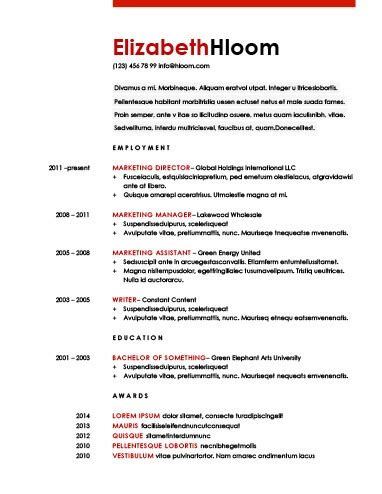 Bold Red Shading Free Resume Template Bold Resume Template