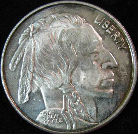 1 Troy Ounce Silver - 50 buffalo nickel design one troy ounce 999 silver bu