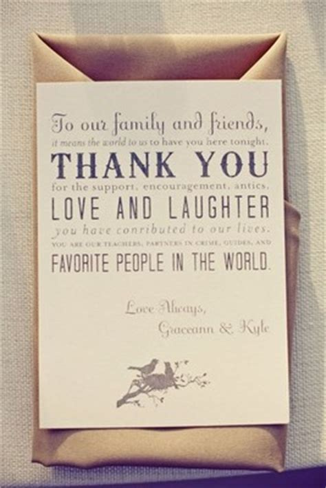 Wedding Gift Thank You Cards Etiquette - thank you card at each place setting or framed near gift table weddings etiquette