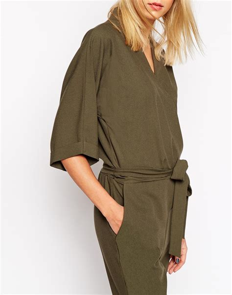 Sleeve Tie Waist Jumpsuit lyst asos jumpsuit with tie waist and sleeves in green
