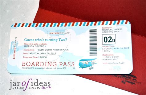 plane ticket wedding invitation template jar of ideas airplane themed 2nd birthday invitation