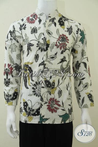 Kemeja Pria Spark Lp Putih batik pria kerah shanghai warna putih lengan panjang