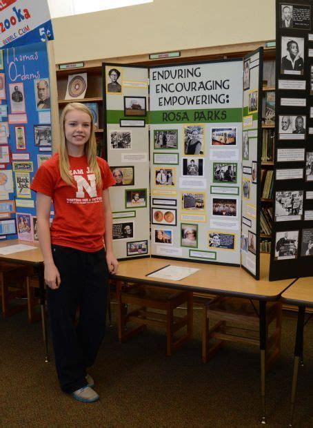 rosa parks biography for middle school national history projects on display at middle school