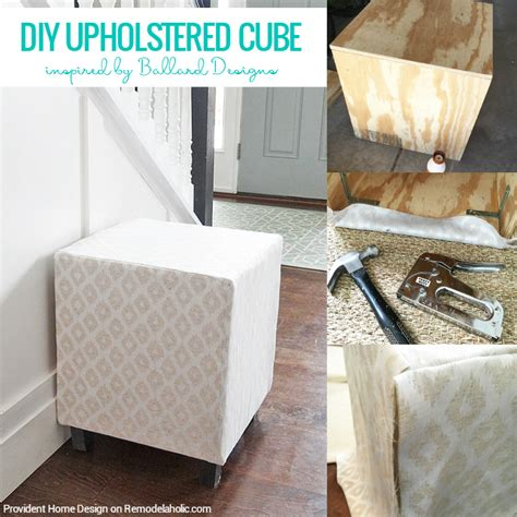 Diy Upholstered by Remodelaholic Ballard Designs Inspired Upholstered Cube
