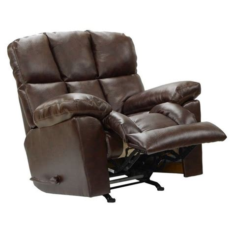 catnapper griffey leather power lay flat recliner in java