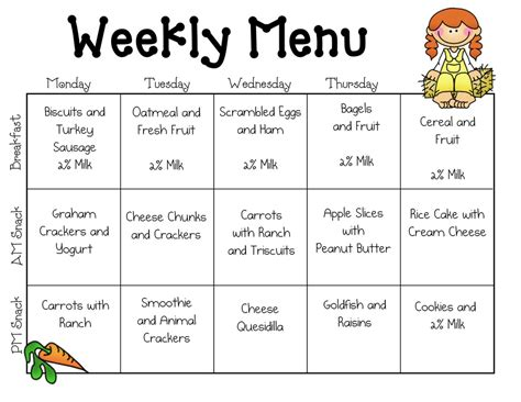 child care menu templates free 7 best images of printable sle day care menus sle
