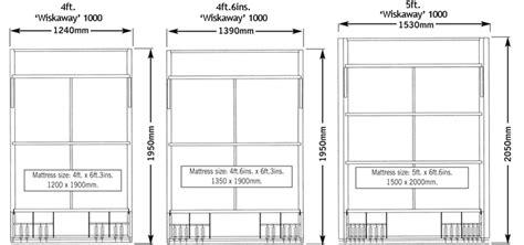 standard double bed size the wiskaway 174 1000 wallbed