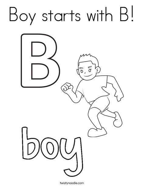 coloring pages that start with the letter b boy starts with b coloring page twisty noodle