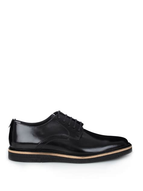 fendi lace up leather derby shoes in black for lyst