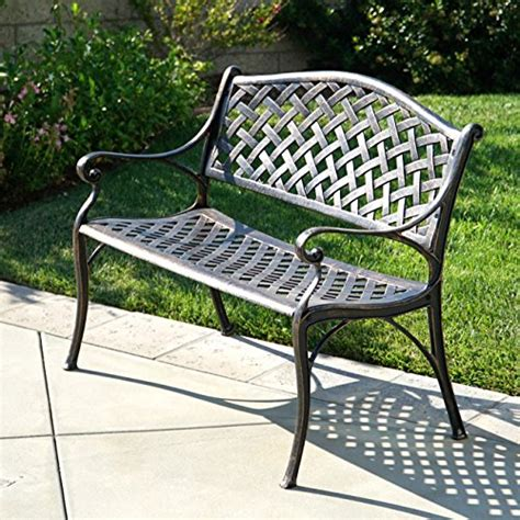cast aluminum patio bench belleze outdoor patio furniture garden bench cast aluminum