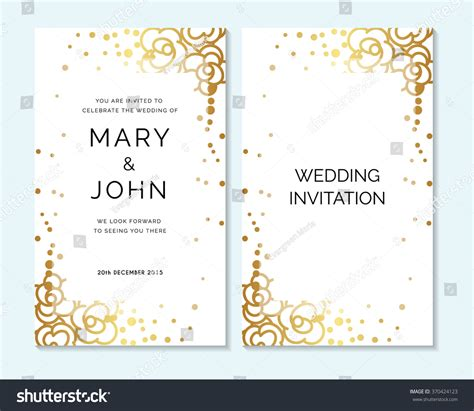 Gold Wedding Cards Templates by Gold Wedding Invitation Thank You Card Save The Date