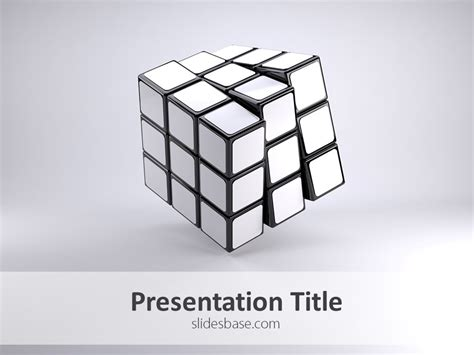 White Rubik S Cube Powerpoint Template Slidesbase Powerpoint Cube Template