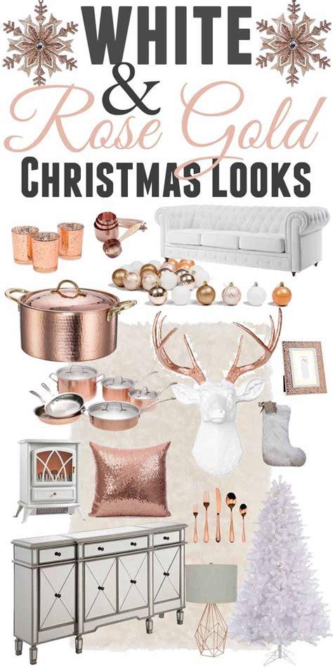 xmas gold decor white rose gold christmas decor ideas christmas