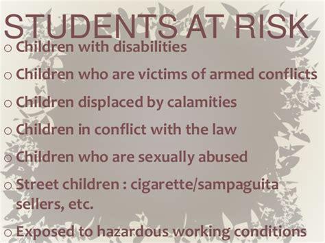 At Risk concern for students at risk