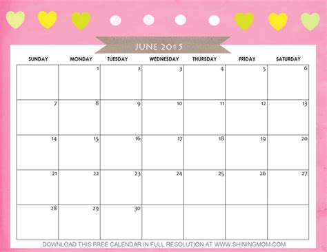 printable monthly calendar for june 2015 10 pretty calendars for june 2015