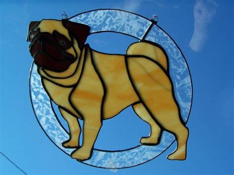 pug glass pug stained glass on etsy 90 00 stain glass crafts pug etsy and glasses
