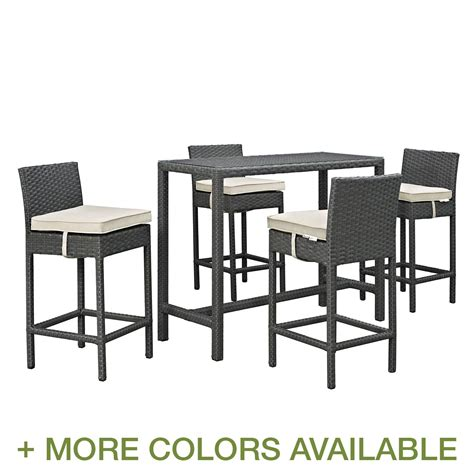 patio bar height dining set modway sojourn 5 outdoor patio bar height dining set